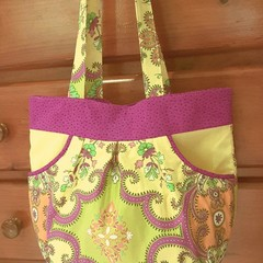 Yellow Tote Bag | Womens Floral Handbag | Everyday Shoulder Bag with Pockets |