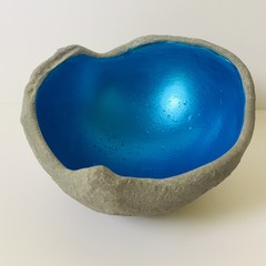 Small Metallic Cobalt Blue Concrete Orb
