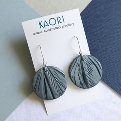 Polymer clay earrings, statement earrings in metallic teal