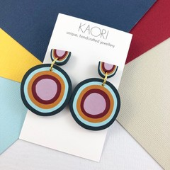 Polymer clay earrings, statement earrings in rainbow circles