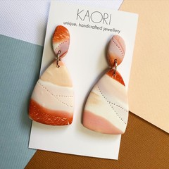 Polymer clay earrings, statement earrings in marbled burnt orange and white