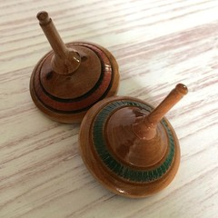 Two Turned Spinning Tops - Red Mahogany (Items RH111 a & b)