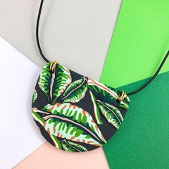 Handcrafted polymer clay adjustable pendant necklace tropical jungle