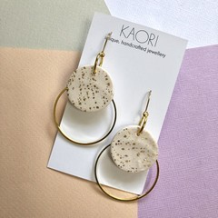 Polymer clay earrings, statement earrings in nude with gold leaf