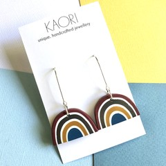 Polymer clay earrings, statement drop earrings in rainbow