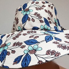 BLUE HUE FABRIC FLOWER SHADE HAT