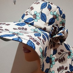 COOL BLUE HUES FABRIC FLOWER SHADE HAT