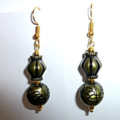 Casual, interesting, boho, metallic,long, antique, bronze earrings.