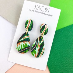 Polymer clay earrings, statement earrings in tropical green leaves