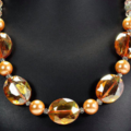 Fabulous Tangerine Crystal and Peach Pearls, Stunning Necklace.