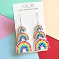 Polymer clay earrings, statement earrings in rainbow