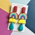Polymer clay earrings, statement earrings in rainbow
