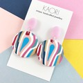 Polymer clay earrings, statement earrings in pink blue white