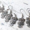 Sweet Little Big Eyed Feathery Owl Metal Charm Earrings