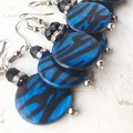 Electric Blue Black Tiger Stripe Disc Shell Earrings