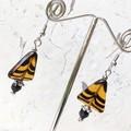 Wild Amber Black Tiger Stripe Triangle Czech Glass Earrings
