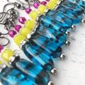 Funky Blue Black Tiger Stripe Fluro Yellow Hot Pink Czech Glass Earrings