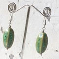 "Beautiful ""Melon"" Ceramic Turquoise Natural Toned Drop Dangle Earrings"