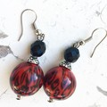 Funky Bright Red Black Tiger Stripe Fantastic Plastic Ball Earrings