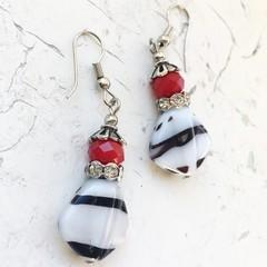 "Wild White Black Stripe ""Zebra"" Red Czech Glass Earrings"
