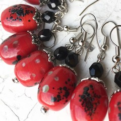 "Bright Red ""Lantern"" Spotted Painted Ceramic Beaded Earrings"