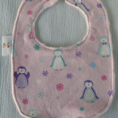 Baby Girl Bib with Penguin motif - Large