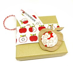 Apple for the Teacher Brooch - Red Blossom