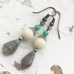 Pretty Turquoise Cream Marble Drop Czech Glass Metal Earrings