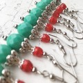 Pretty Turquoise Red Czech Crystal Glass Metal Earrings