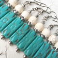 Pretty Turquoise Flower Embossed Czech Glass Faux White Turquoise Earrings