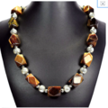 Genuine Golden-Brown TIGER'S EYE  Natural semi-precious Gemstones Necklace.