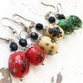 """Bright Red """"Lantern"""" Spotted Painted Ceramic Beaded Earrings"""
