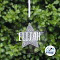 Xmas Glitter Star Bauble Personalised Christmas  Decoration Name Keepsake 2019