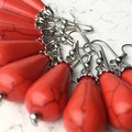 Stunning Faux Red Turquoise Drop Dangle Earrings