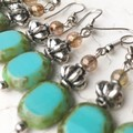 Opaque Turquoise Czech Glass Slab Beaded Hippy Earrings