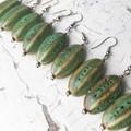 "Beautiful ""Melon"" Ceramic Turquoise Natural Toned Drop Dangle Earrings"