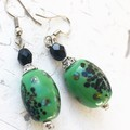 "Beautiful Green ""Lantern"" Spotted Painted Ceramic Beaded Earrings"