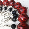 Funky Bright Red Black Tiger Stripe Fantastic Plastic Ball Earrings