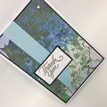 Thank You Card - Blue and Green Print