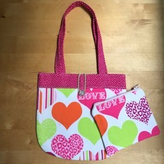 Love hearts handbag and purse