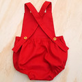 Crimson Red Baby Romper - Baby Boy Christmas Outfit - Toddler Girls Overalls