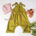 Green Linen Baby Overalls - Toddler Boys Jumpsuit - Unisex Dungarees
