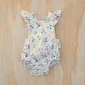 White Floral Ruffle Sleeve Romper - Baby Girl Playsuit - Toddler Onesie