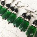 Stunning Emerald Green Cut Glass Pillow Black Czech Crystal Diamante Earrings