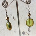Transparent Olive Green Czech Glass Slab Beaded Earthy Earrings
