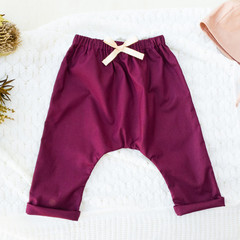 Girls Mulberry Harem Pants - Kids Loose Fitting Linen Pants - Toddler Leggings
