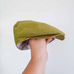 Green Linen Flat Cap - Toddler Boys Newsboy Hat - Newborn Photo Prop