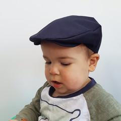 Toddler Boys Linen Flat Cap - Navy Blue Newsboy Hat - Baby Photo Prop