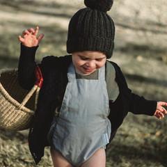 Grey Linen Baby Romper - Unisex Boho Baby Romper