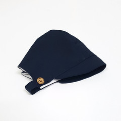 Navy Blue Linen Baby Bonnet with button up chin strap, Unisex Linen Hat